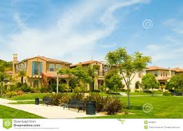 Spanish Style Houses Urban Park Set Among Luxury Spanish Style Homes Royalty Free Stock