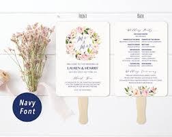 wedding program fans vistaprint peach cream floral navy blue wedding program fan style
