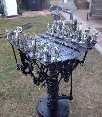 still not finished with my hardware and scrap metal chess set i