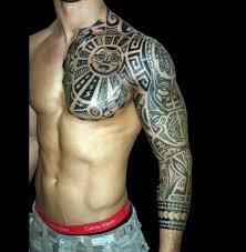 tribal half sleeve chest your name across my