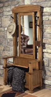 hall tree storage bench with mirror foter