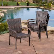 Christopher Knight Patio Furniture Reviews Outdoor Pe Wicker Stackable Arm Club Chairs Set Of 4 By