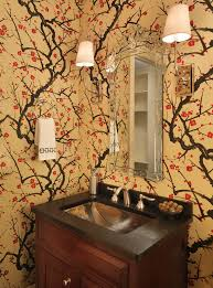 cherry blossom wallpaper powder room eclectic with bath bathroom