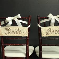 Bride And Groom Chair Signs Best Vintage Customized Wood Signs Products On Wanelo