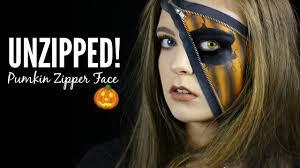 pumpkin zipper face halloween makeup tutorial youtube