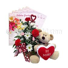 be mine teddy flowers basket with beautiful teddy for someone special