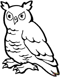 horned owl coloring page free printable coloring pages