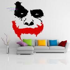 online get cheap dark knight wall murals aliexpress com alibaba vinyl wall decal scary joker face movie batman the dark knight sticker mural wall sicker home