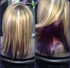 short hairstyles with peekaboo purple layer blonde highlights and purple peekaboo underneath with beach wave