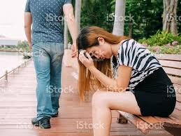 wallpaper break couple breakup couple with sad girlfriend and boyfriend walking away stock