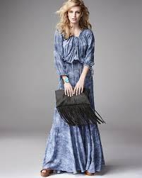 l u0027agence denim print drawstring maxi dress