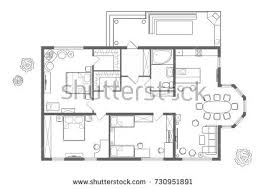 plan house black white architectural plan house layout stock vector 592429499