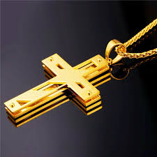 steel cross necklace images Gold color stainless steel cross necklace for men women jpg