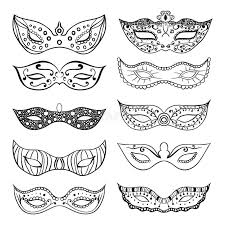 black and white mardi gras masks set of isolated festive black mask silhouette on the