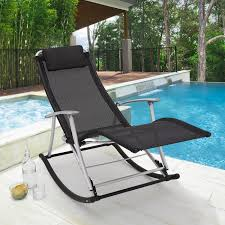 Rocking Folding Chair Toblino Leisure Lounger Foldable Alu Black Textilene Rocking Chair