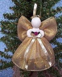 new 4 assorted ribbon angels for christmas tree handmade