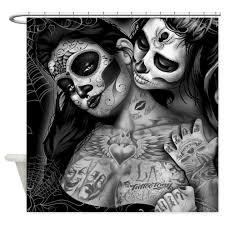 Skull Shower Curtain Hooks Skull Shower Curtains Cafepress