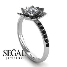 lotus engagement ring flower engagement ring 14k white gold 0 5 carat cut