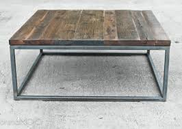 vintage square coffee table reclaimed wood coffee table steel base industrial table