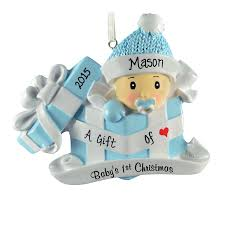 baby boy s 1st in present ornament personalized