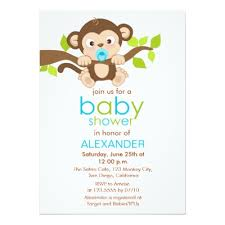 monkey boy baby shower invitation zazzle