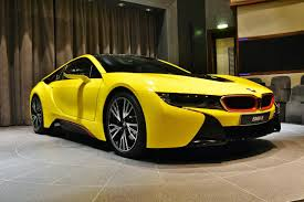 Bmw I8 Wrapped - bmw i8 wrapped in bright yellow with red accents