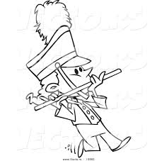vector of a cartoon flutist in a marching band outlined coloring