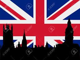 London Flag Silhouette Of London On United Kingdom Flag Background Royalty
