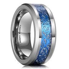 blue tungsten rings images 8mm unisex or men 39 s tungsten wedding band silver and sky blue jpg
