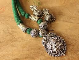 necklace silver online images Goddess statement laxmi ethnic antique silver plated necklace set jpg