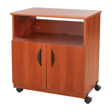 Desk With Printer Storage Brown Varnished Oak Printer Stand Cabinet With Shelf With Printer