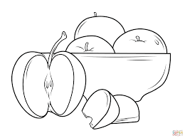 plate of apples coloring page free printable coloring pages