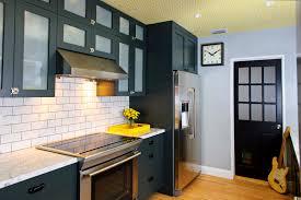 Black Cabinets In Kitchen Kitchen Electric Range Under Cabinet Range Hood Wood Wall