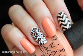 nail art peach black and white skittlette for spring