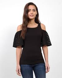 cold shoulder tops stripe lace cold shoulder top at three dots online store in black