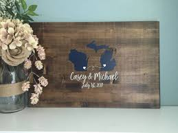Rustic Wedding Guest Book Rustic Wedding Guest Book Alternative Two State Guestbook Heart
