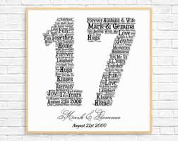 17th anniversary gifts personalized 12th anniversary gift word printable