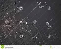 Doha Map Doha Streets And Buildings 3d Map Qatar Stock Illustration