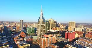 4k aerial nashville tennessee skyline circle shot city urban roads