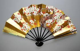 japanese fan handmade japanese fan gold leaf maple and cherry blossom