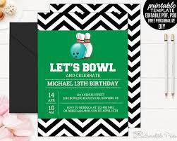 boy birthday invitation template printable bowling party