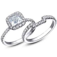 halo wedding ring 3 35 ct cushion halo engagement ring with matching wedding band