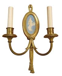 Sconce Candle 1900 Pair Of Sterling Gilded Bronze Louis Xvi Two Candle Sconces