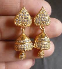beautiful ear rings cubic zirconia ad gold plated small 2 cm indian cz beautiful