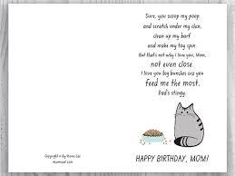 printable birthday ecards printable birthday card for cat moms funny cat birthday card