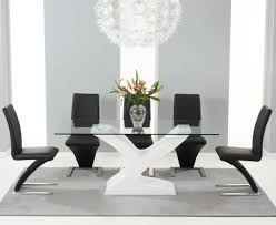 Glass Dining Table 6 Chairs Nevada 180cm White High Gloss And Glass Dining Table With