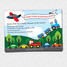 transportation baby shower invitations boy train plane
