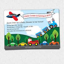 fire truck invitations transportation baby shower invitations boy train plane