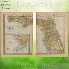 Usps First Class Shipping Time Map Vintage Atlas Map Of 1920 Florida Antique Map Full Color Inches