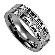 bible verse rings true waits purity side cross ring with engraved bible verse